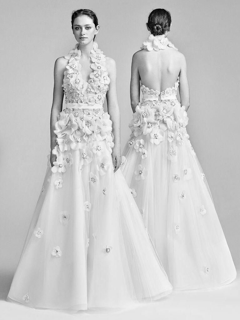 Viktor Rolf Spring 2018 A Line Wedding Dress With Giant Fl Liquéd Halter Neckline