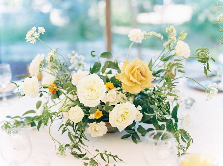Simple centerpiece with roses and greenery