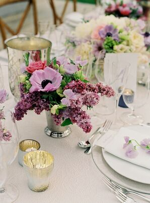 Low Blush Centerpieces in Silver Vases