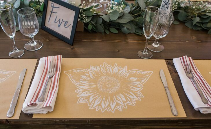 Stenciled FlowerPlacemats and Simple Place Setting