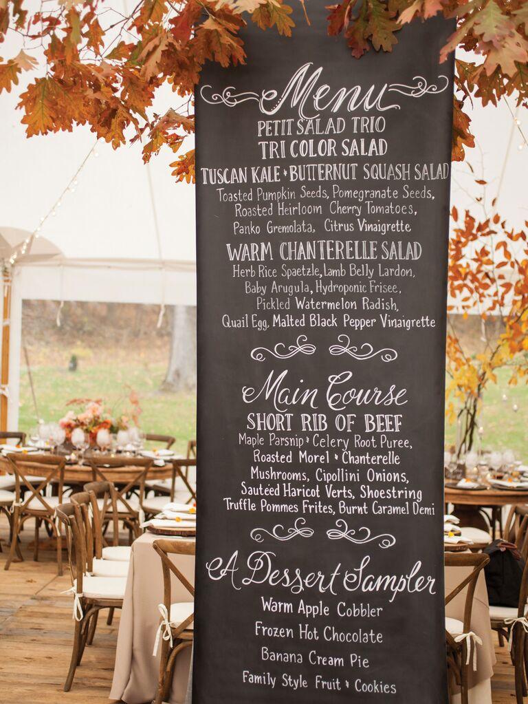 rustic fall wedding menu giant wood wedding sign
