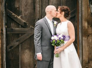 Stephanie Stutz (42 and a physician) and Kevin Angle's (41 and an IT professional) converted horse barn wedding warmed their winter date with understa