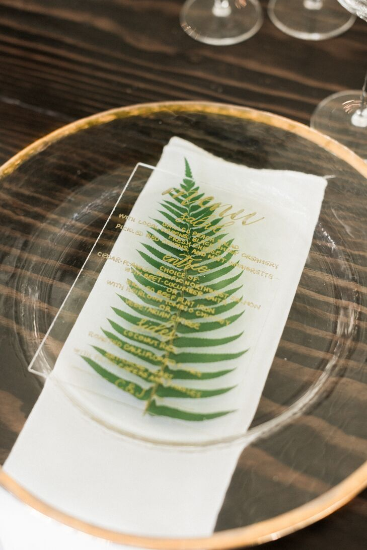 Fern and Lucite Menu Place Settings