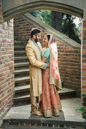 Bride and Groom in Traditional Indian Sari and Sherwani