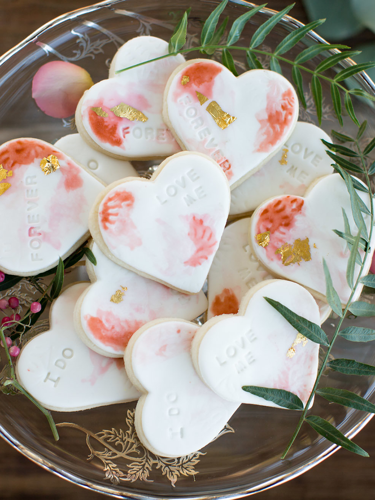 wedding cookies heart shaped pink and gold