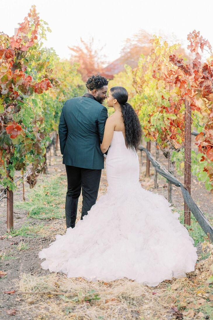 Couple Wedding Portraits in Vineyard in California
