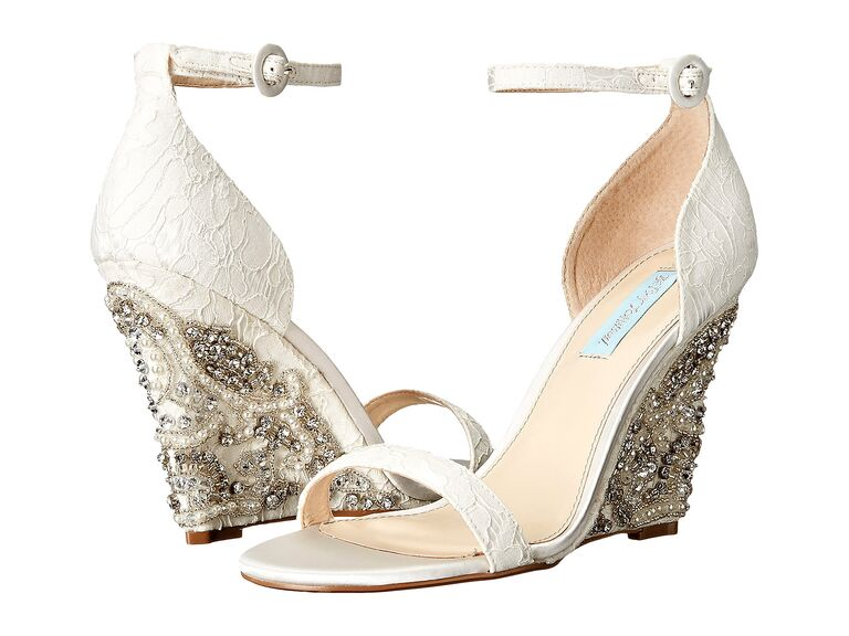 4b3469ddf4f5 Betsey Johnson alisa ivory wedding wedges. Having stunning details on the  heels ...