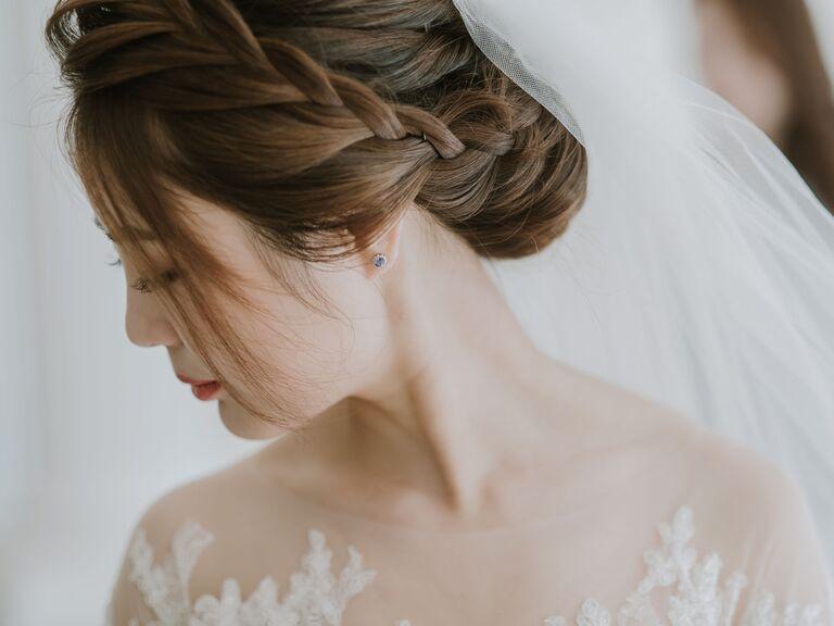 wedding braid hairstyles low bun with french braid