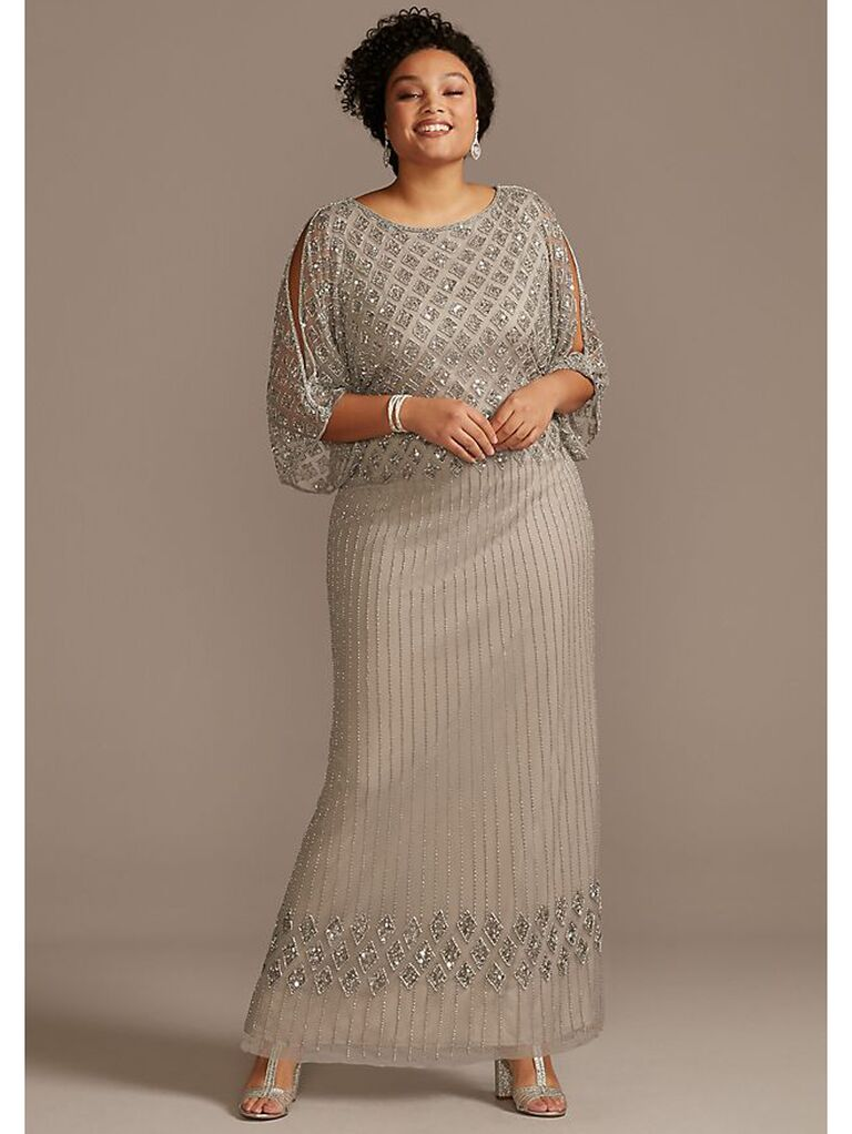Silver evening gown with cold shoulders and allover beading