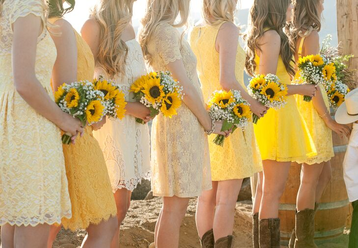 Brown and Yellow Bridesmaid Dresses Cheap