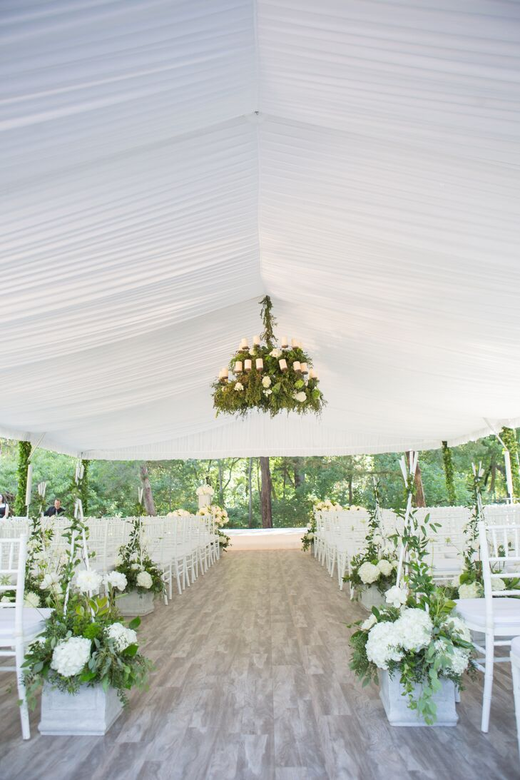 Preppy Tented Reception with Greenery Chandelier