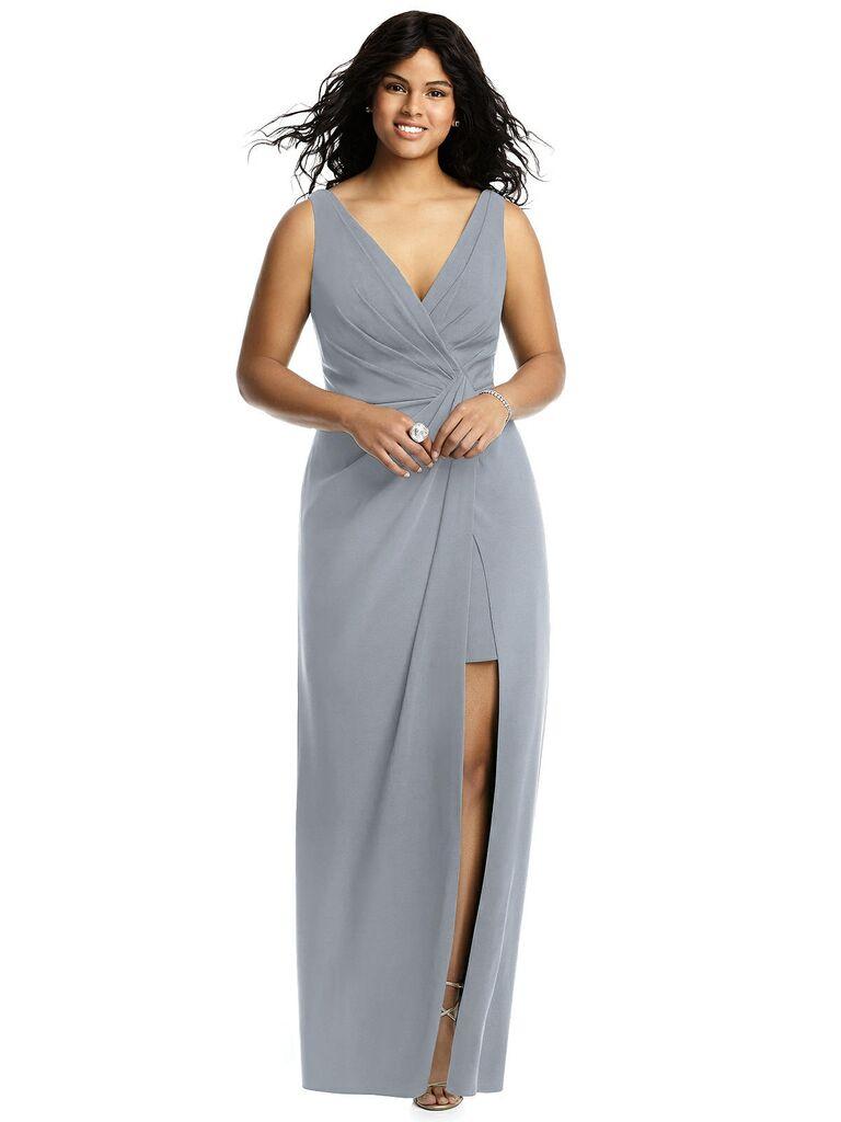 Gray plus size bridesmaid dress