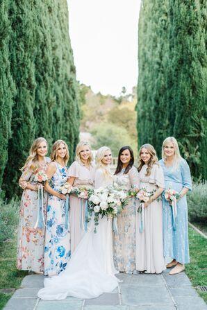 Mismatched Blue Floral Bridesmaid Dresses
