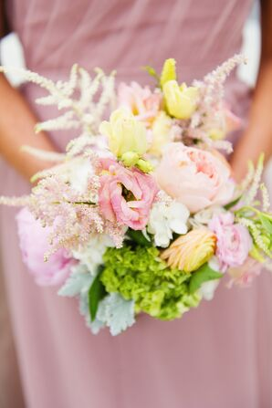 Pink Lisianthus, Blush Astilbe Bridesmaid Wedding Bouquet
