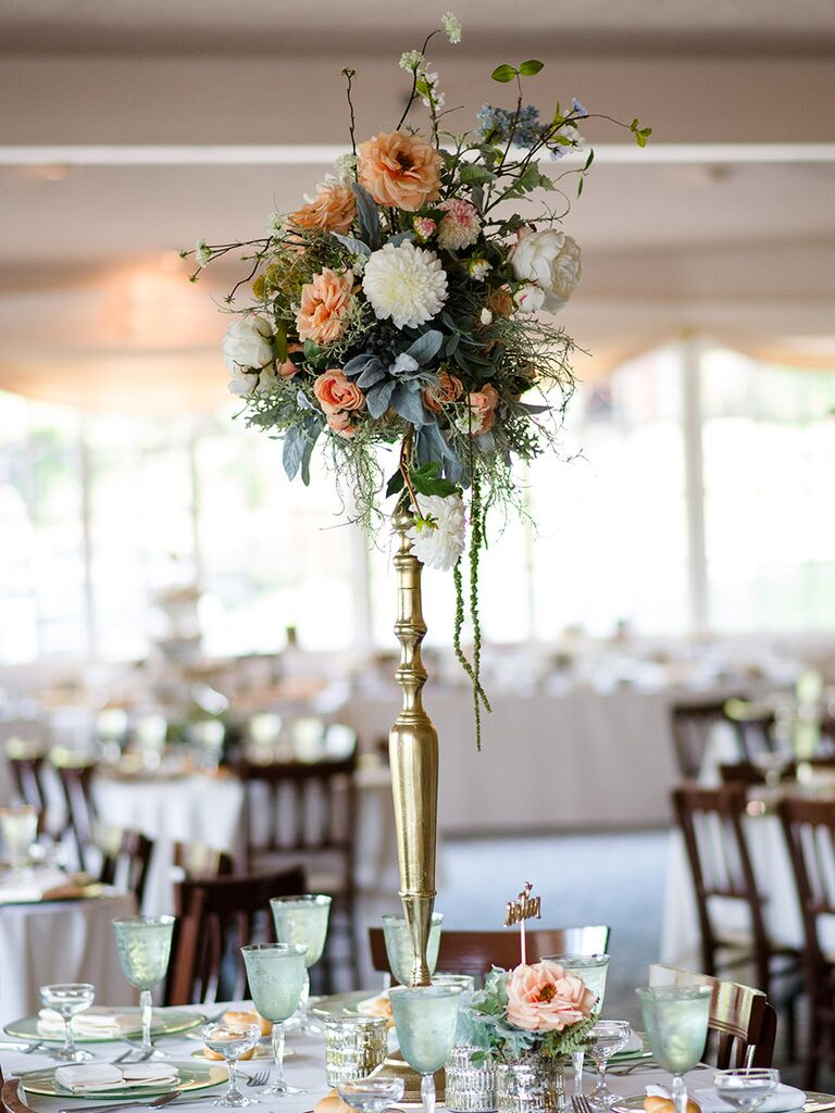 stunning tall centerpieces for wedding receptions rh theknot com wedding tall centerpieces diy wedding centerpieces white and gold