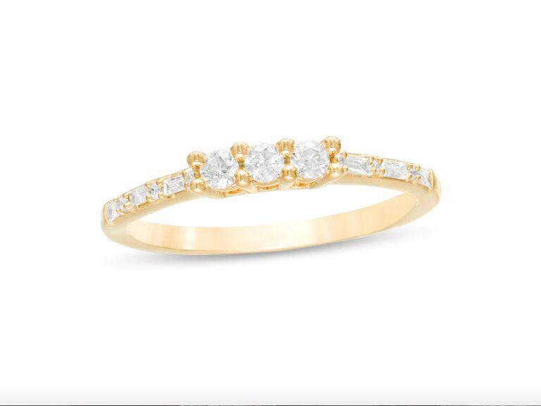 Zales three stone diamond engagement ring in 10K yellow gold