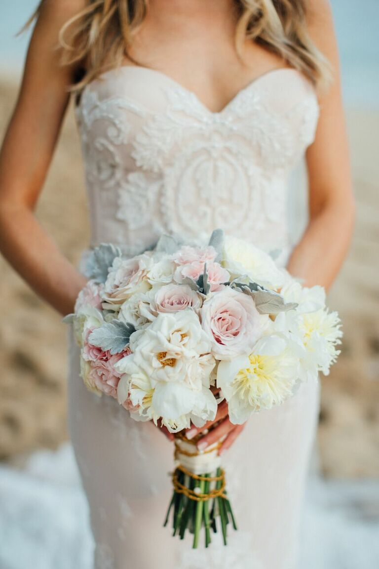 Kelly Kruger in Inbal Dror blush strapless wedding dress with bouquet