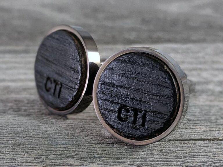 Custom bourbon barrel cufflinks groomsmen proposal gift