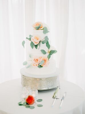 Romantic, Tiered Buttercream Cake with Roses and Eucalyptus