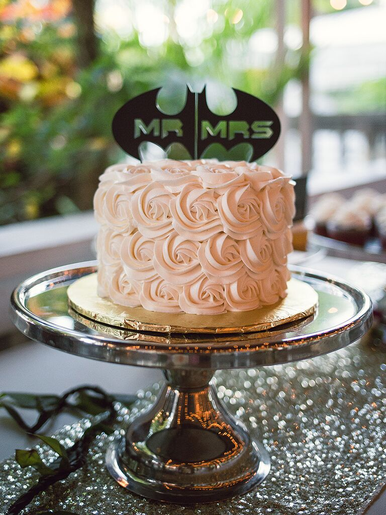 Mr. and Mrs. Batman themed wedding cake topper