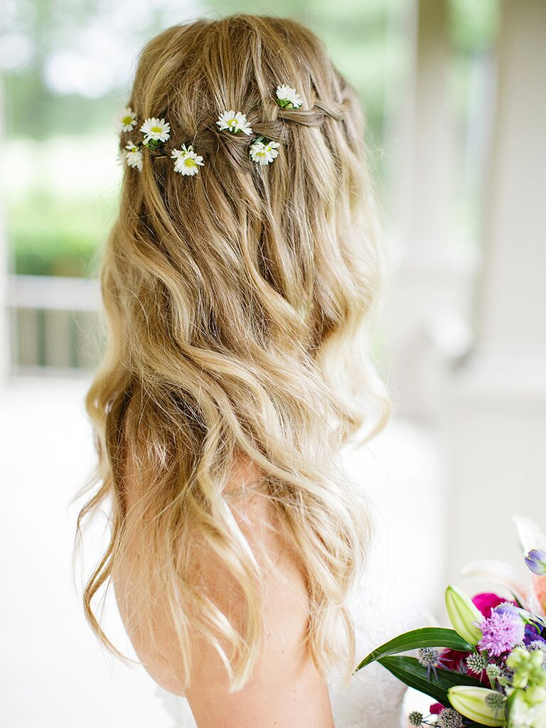 17 wedding hairstyles for long hair with flowers long waves with a waterfall braid and oxeye daisies loose waves wedding hairstyle junglespirit Images