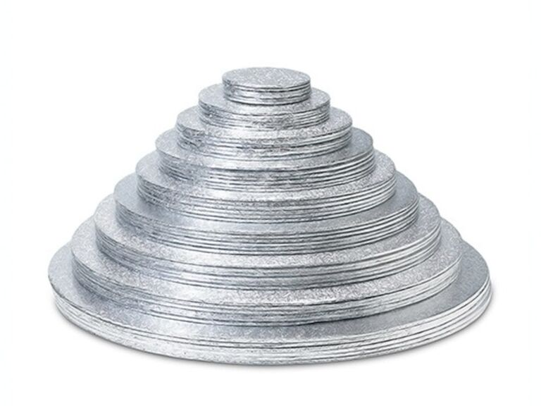 Round foil wrapped wedding cake boards