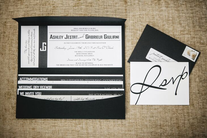 Ashley and Gabby made their wedding invitations themselves - Ashley designed, printed and trimmed each invitation and Gabby then assembled each packet. The invitations had a modern look with a sleek black and white color scheme, as well as mixed contemporary and script typefaces.