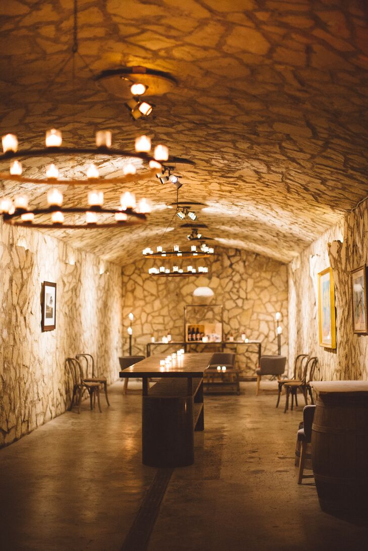 Rustic Winery Cave Reception Space with Iron Chandeliers