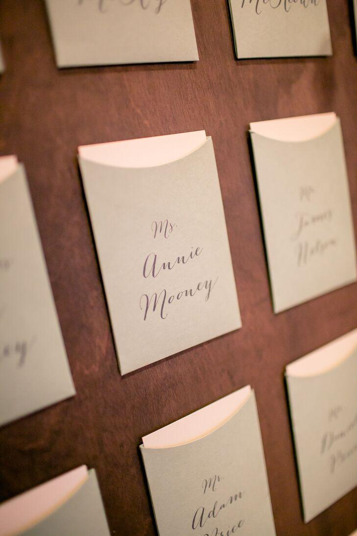 Sage Hand-Lettered Escort Card Envelopes