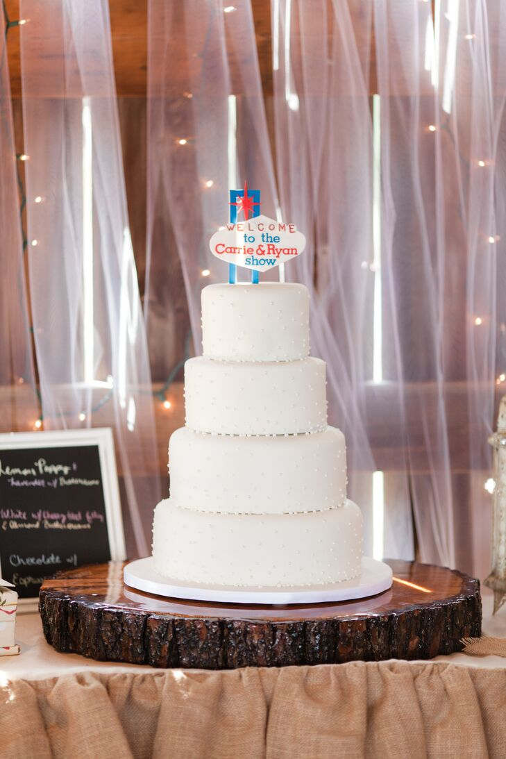 White Fondant Swiss-Dot Wedding Cake