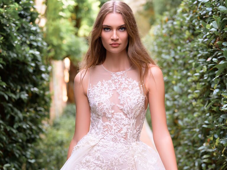 Bliss Monique Lhuillier illusion neckline wedding dress