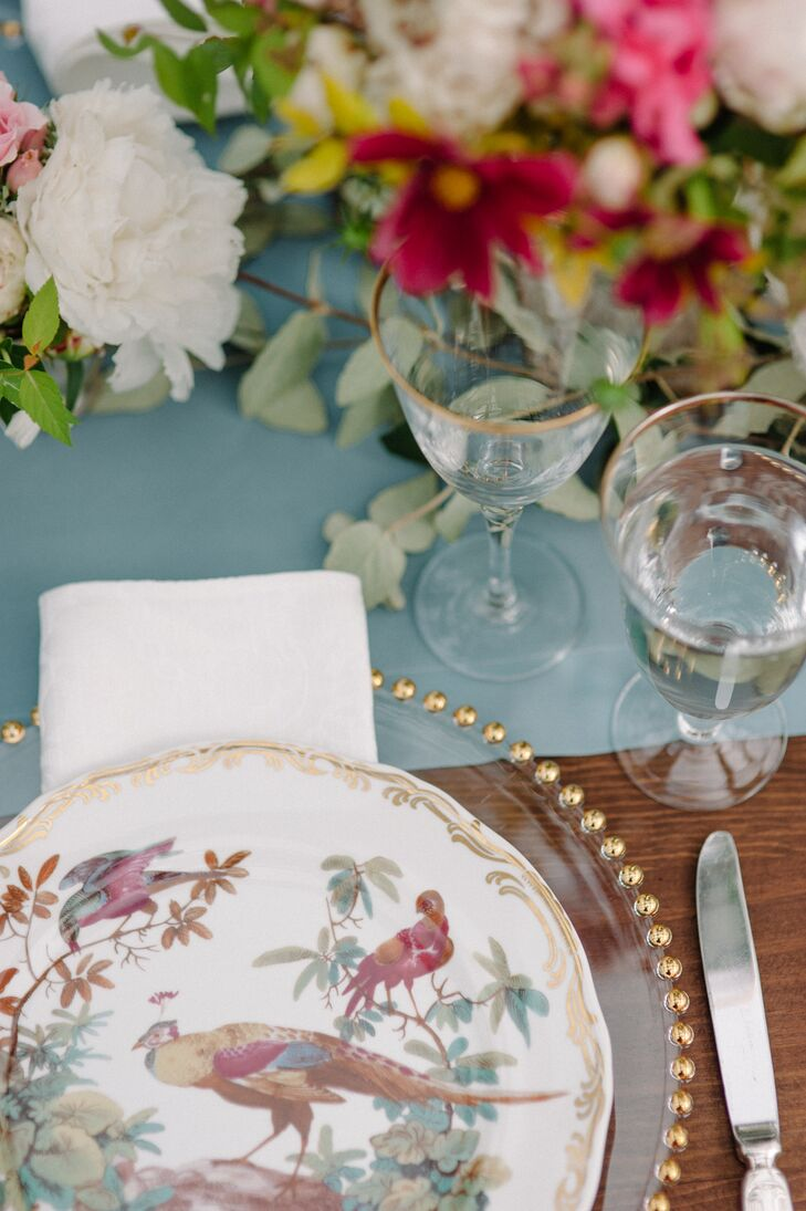 Gold-Rimmed Chargers and Painted Plates
