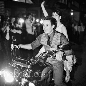 Retro Motorcycle Wedding Exit