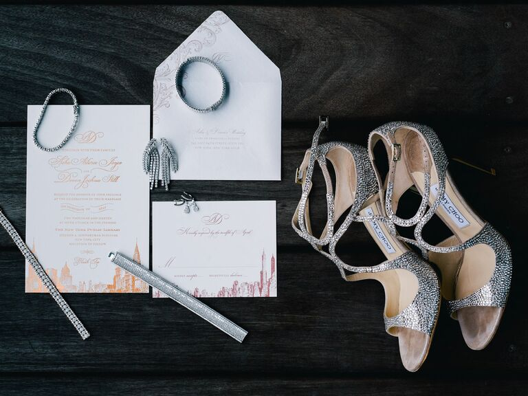 Jimmy Choo wedding shoes and Atelier Isabey stationery