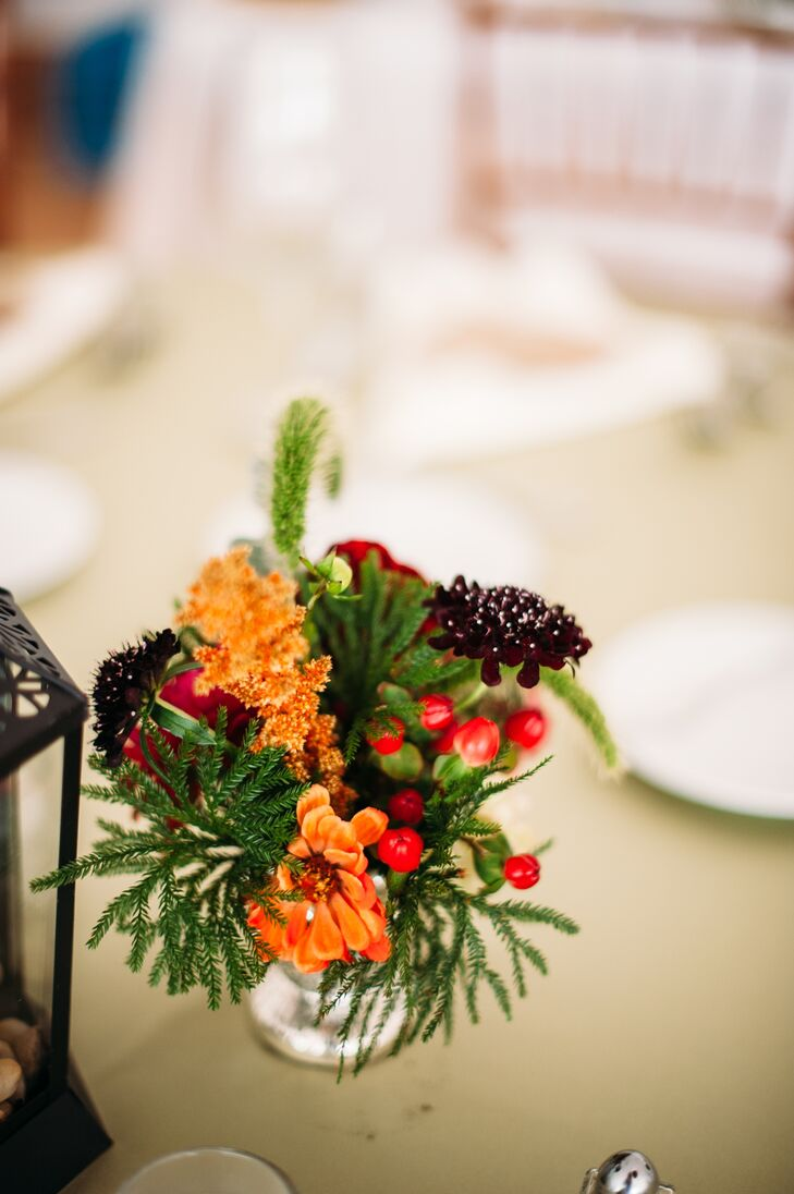 Orange, Red and Green Floral Centerpiece