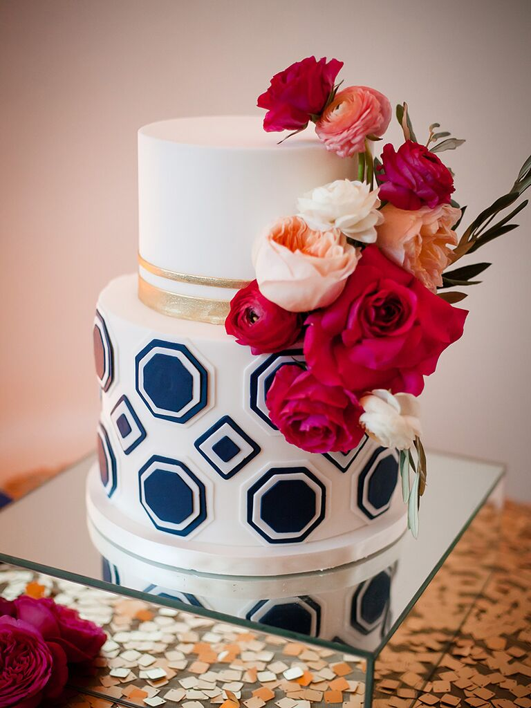 Small white and blue geometric wedding cake