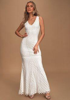 Lulus Alessandra White Beaded Sleeveless Mermaid Maxi Dress Sheath Wedding Dress