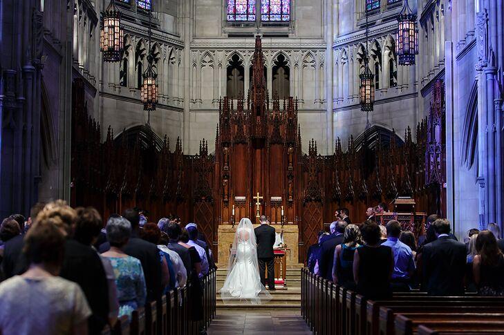 Bride and Groom in the Historic Heinz Chapel