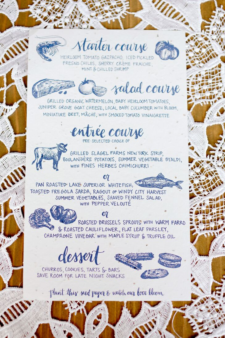 Guests found a blue-accented, illustrated menu at their seats at the reception at the Chicago Botanic Garden in Chicago, Illinois. The menu, printed on recycled paper, featured the locally sourced dishes the guests would have to eat, including Lake Superior whitefish and Slagel Farms's sustainable meat.