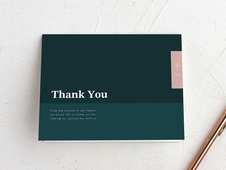 minimalist wedding thank-you card