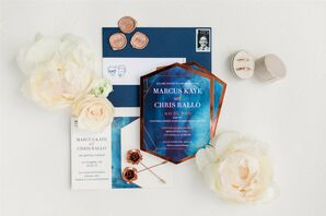 Modern Blue Wedding Invitations with Typography