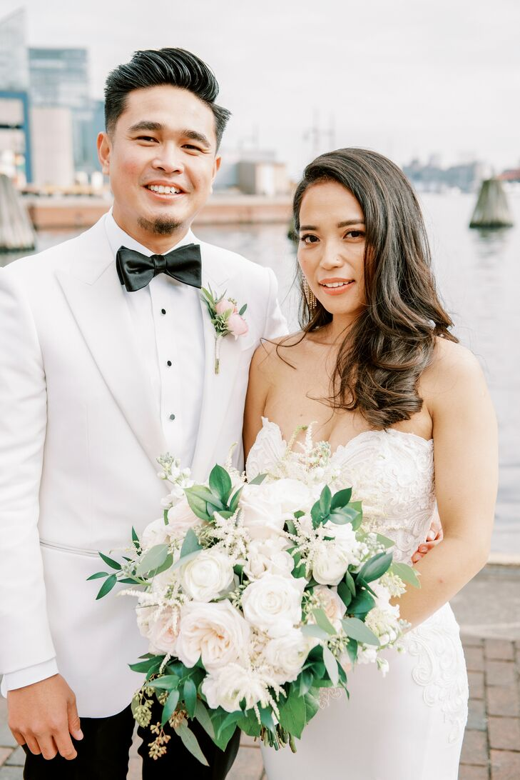 Couple in White Attire for Wedding  at The Winslow in Baltimore, Maryland
