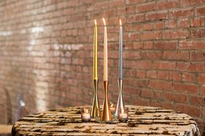 Colorful Taper Candles and Brick-Inspired Linen