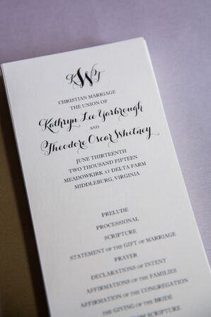 Black-and-White Ceremony Programs