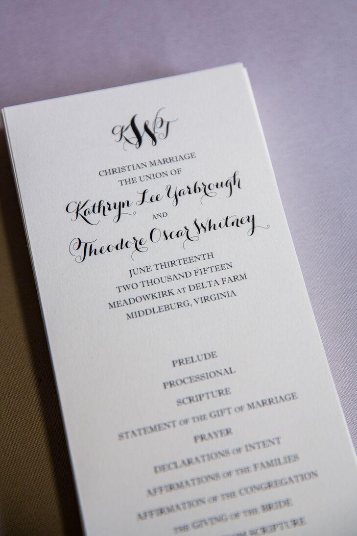 Black-and-White Ceremony Programs