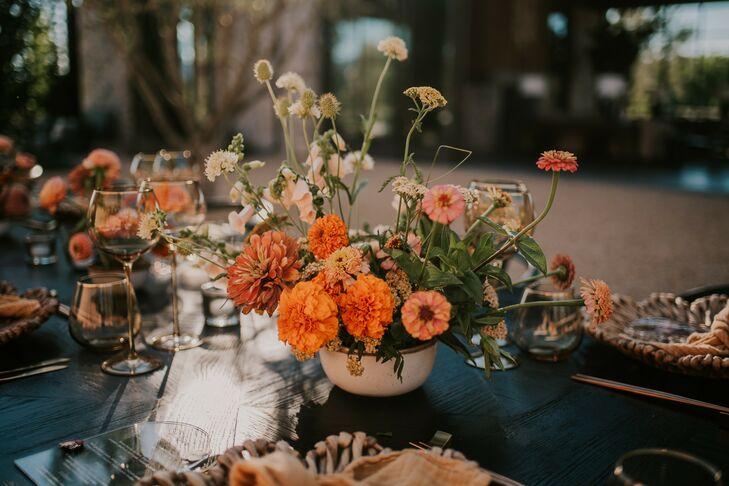 Reception Floral Centerpieces With Orange Marigolds