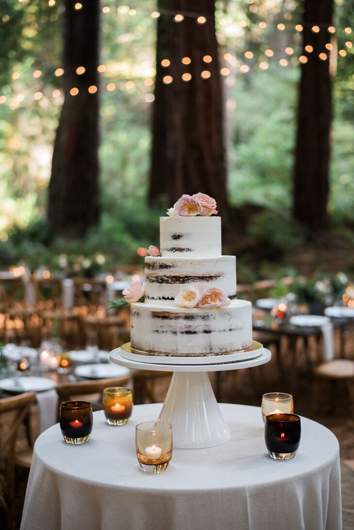 Rustic Naked Cake with Blush Flowers