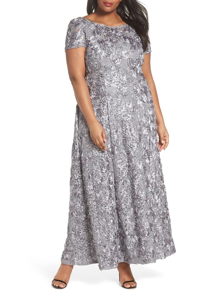 Silver evening dress with rosette embroidery