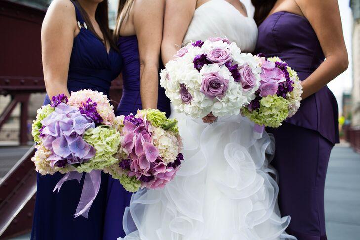 Purple and White Hydrangea Bouquets