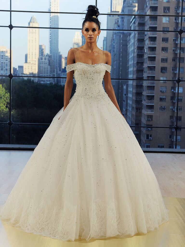 Ines Di Santo Fall 2018 Astor pearl-encrusted ball gown with lace border hem